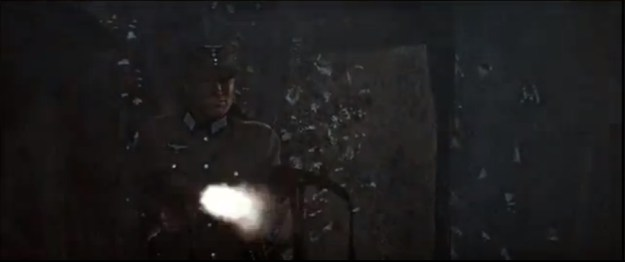 """Clint Eastwood firing two MP40s at the same time in """"Where Eagles Dare."""""""