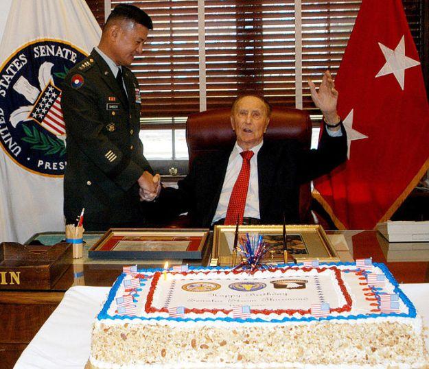 In better days: Gen. Shinseki congratulates Strom Thurmond on his 100th birthday.