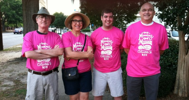 That's me on the left, Doug on the right, and our birthday kids in the middle, at the 2013 Walk for Life. They were younger then...