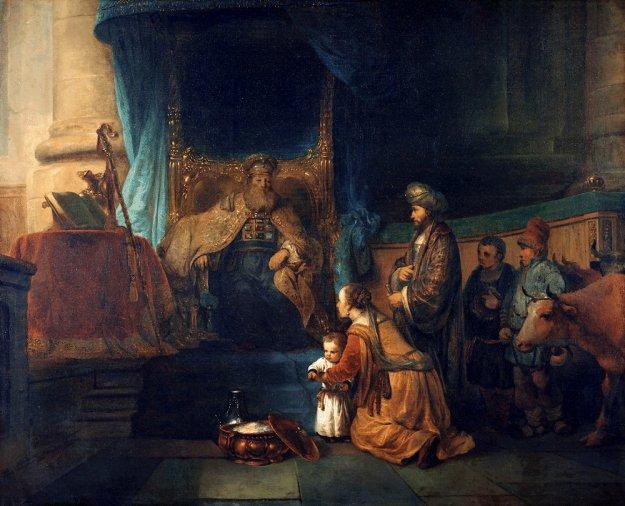 Hannah presents her young son Samuel to the priest Eli. By Gerbrand van den Eeckhout
