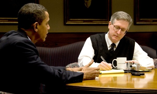 """That's me interviewing Obama on MLK Day 2008 -- taking notes with my right hand, shooting video with my left. With my Initech mug: """"Is This Good for the COMPANY?"""""""