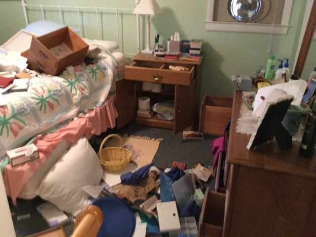 Trashed: A room in my parents' beach house after the break-in in 2016.