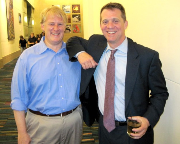 """My original caption on this picture was, """"Dogs and cats, living together -- Republican Rick Quinn and Democrat James Smith at the Benjamin victory party."""""""