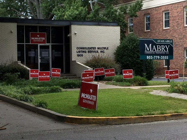 """I took this photo on July 12. I thought, """"So THAT'S where all the McMaster signs are -- at his headquarters!"""""""