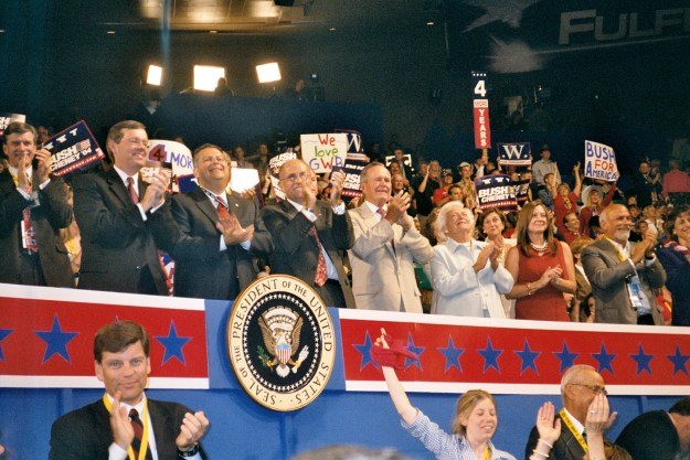 I shot this in 2004, on actual film -- which I had to take to a Duane Reade and have digitized so I could send it back to Columbia. As you see, a typical GOP convention of the past -- with Bush 41, and Rudy before he became Trump's boy.