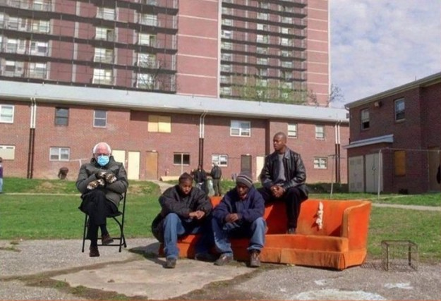 """This may be my favorite -- Bernie's mittens discussing Chicken McNuggets with the guys from """"The Wire.""""/@turd_fergusson"""