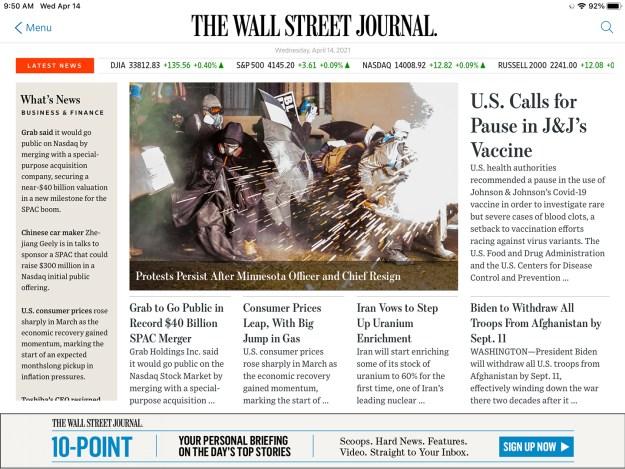 WSJ top stories