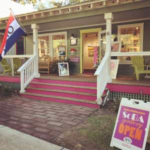 The front porch of The Society of Bluffton Artists gallery in Old Town Bluffton