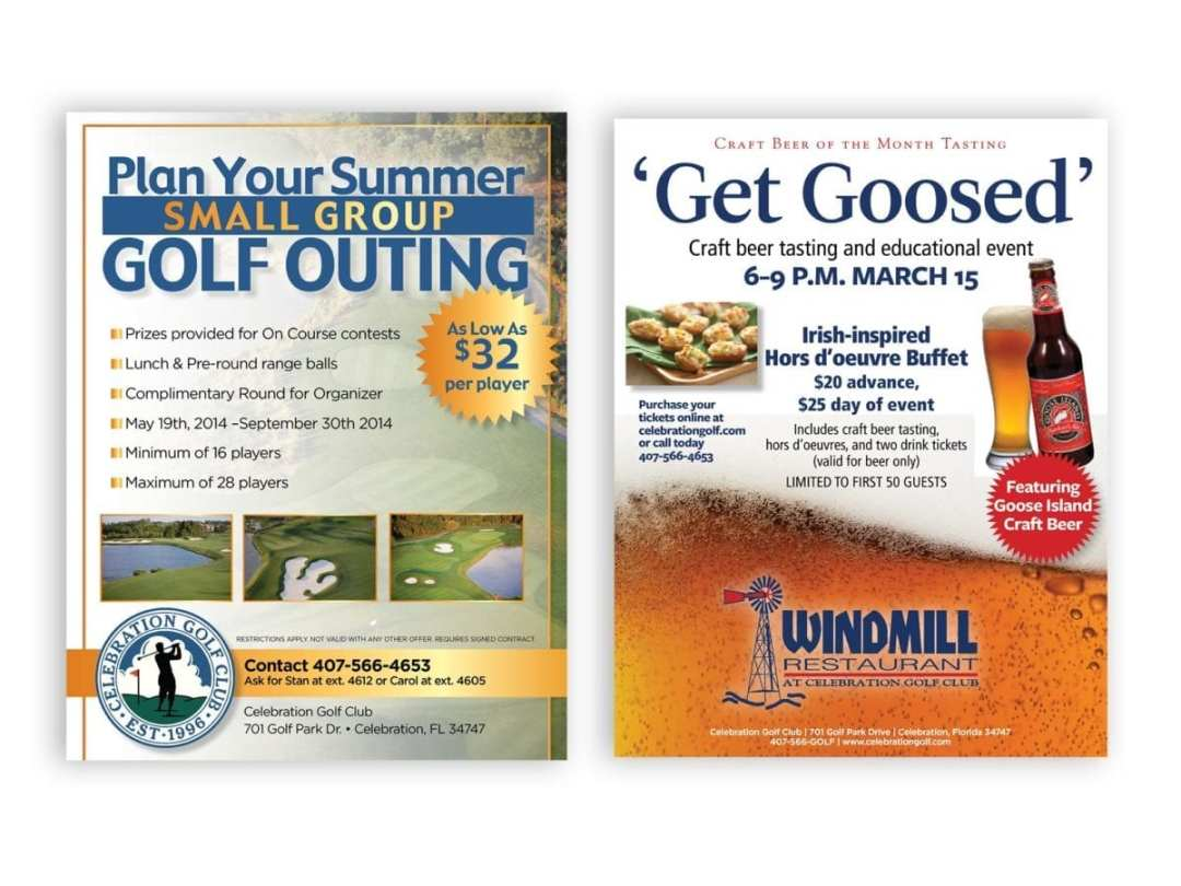 Restaurant and Golf Outing Fliers