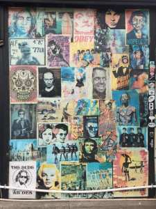 Wall of colorful posters and cultural and political icons from Coligny on Hilton Head Island