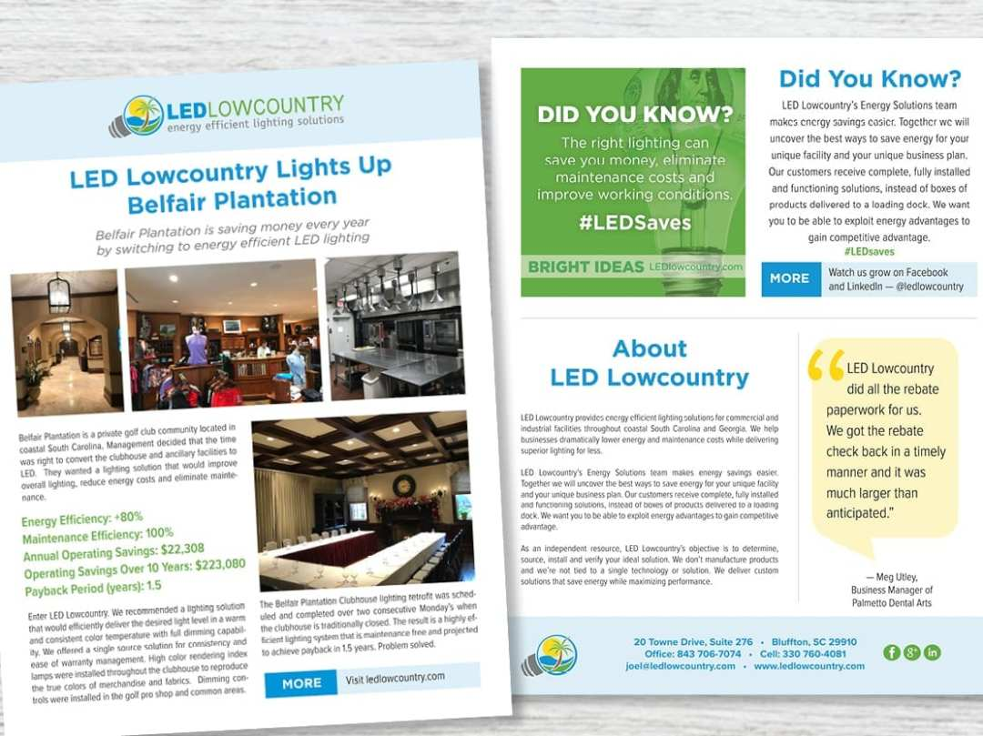 LED Lowcountry sales flier and newsletter