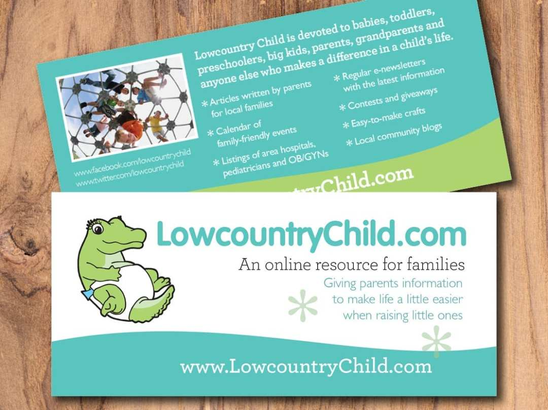 Rack Card for LowcountryChild.com an online resource for families