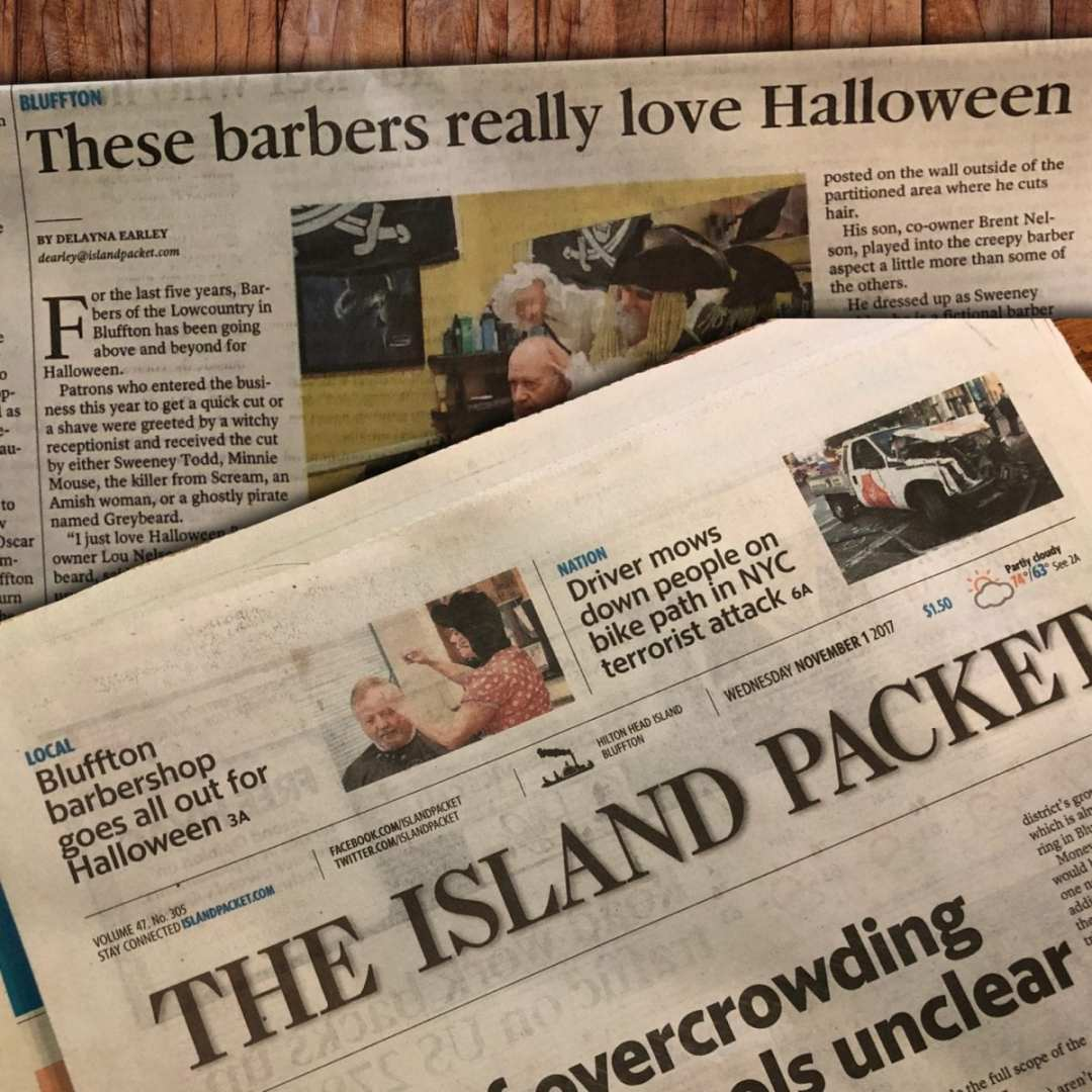 Barbers of the Lowcountry Centerpiece Coverage in The Island Packet