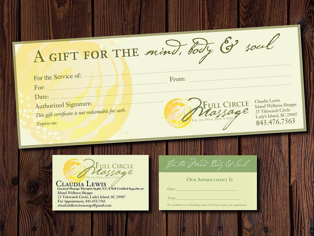 A gift certificate and business card for a massage therapist
