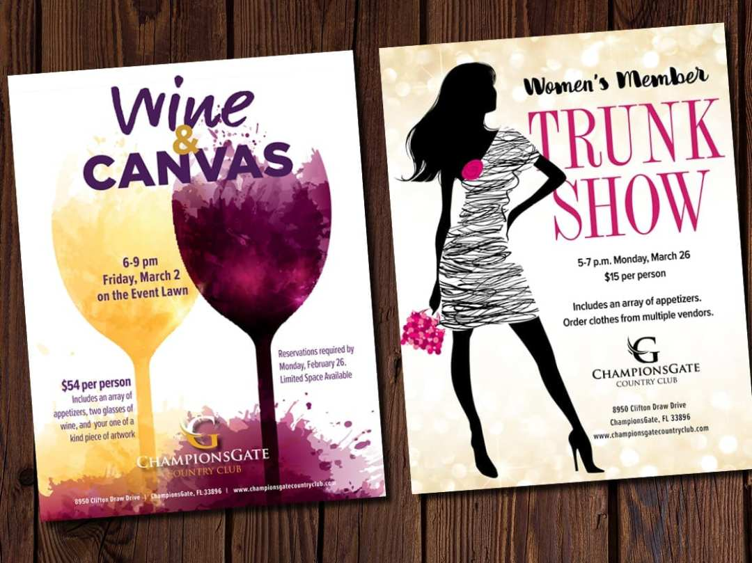 Fliers for women's events at Champions Gate Country Club