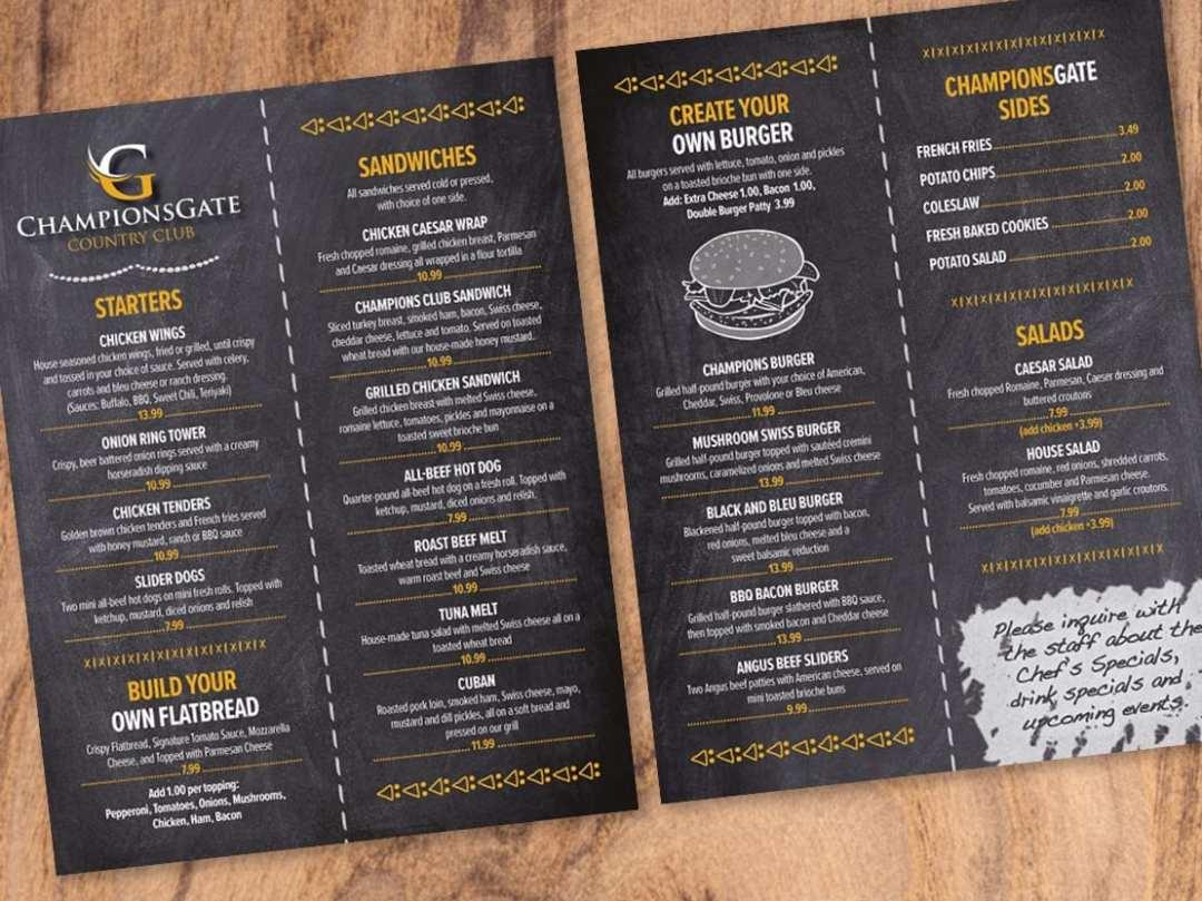 ChampionsGate Country Club's menu