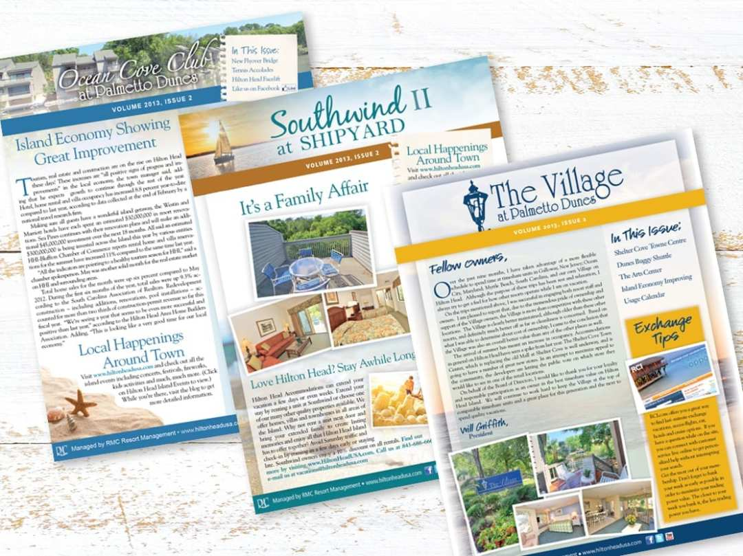 Newsletters for Ocean Cove Club, Southwind at Shipyard and The Village at Palmetto Dunes