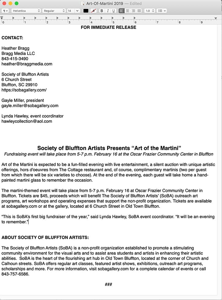 A sample format of a press release for The Society of Bluffton Artists