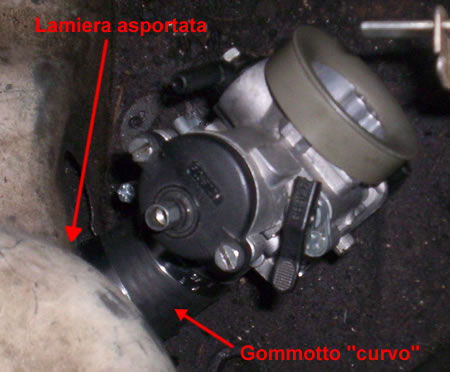 Particolari dell'installazione del carburatore