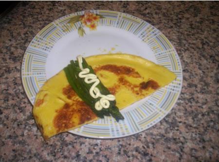 Crespella con asparagi e maionese