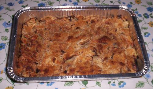 Una teglia di finocchi al gratin preparati come da questa ricetta.