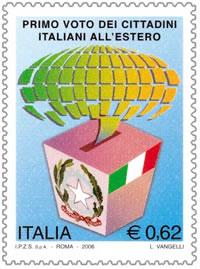 Francobollo celebrativo primo voto italiani estero