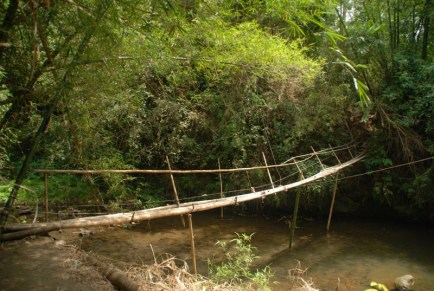 This rickety bamboo bridge is the only means to cross the dangerous rapids... Nah! This flimsy structure wouldn't have supported our combined weight. We waded through the cold knee-deep water, instead.