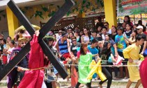 """The """"Senakulo"""" in Boac, Marinduque kicks off with the procession of the three condemned to the cross--Jesus of Nazareth and the two bandits, Dimas and Hestas."""