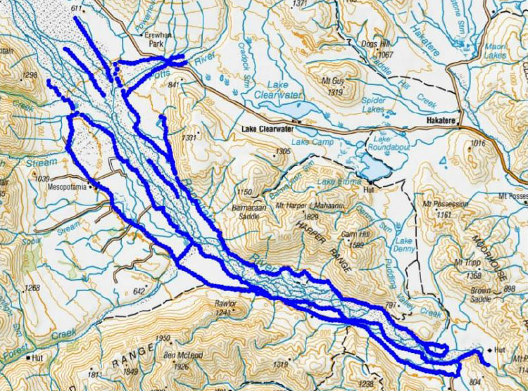 Trap lines (blue) in the upper Rangitata River (click image for the full report).