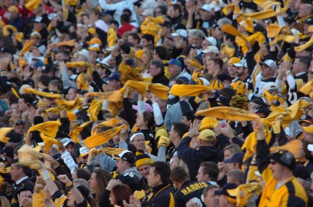 "Source: ""Pittsburgh Steeler fans 15 Oct 2006"". Licensed under CC BY 2.0 via Wikimedia Commons -"