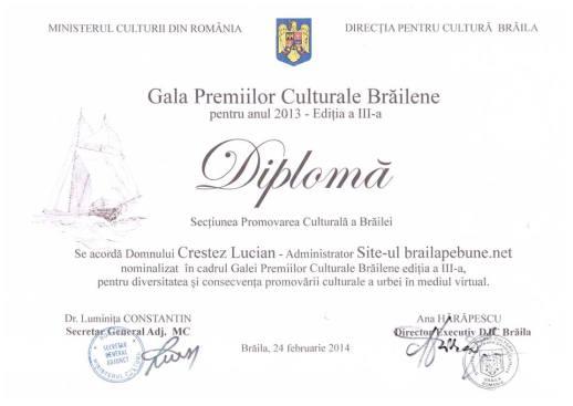 Rezumatul premiilor culturale brailene editia a III-a
