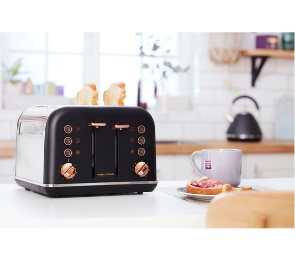 MORPHY RICHARDS Accents 242104 4 Slice Toaster Black Amp Rose Gold Fast Delivery Currysie