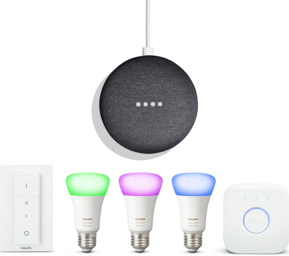 Buy PHILIPS Hue White Amp Colour Ambiance 27 Starter Kit Amp Google Home Mini Bundle Free Delivery