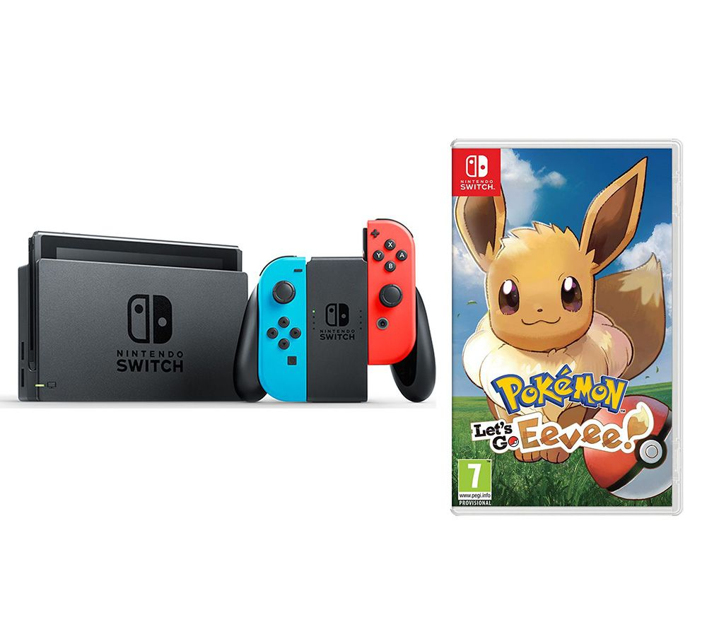 Buy NINTENDO Switch Neon Red Amp Pokemon Lets Go Eevee Bundle Free Delivery Currys
