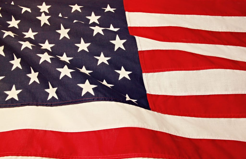 American Flag symbol of the USA and indication of cross border law
