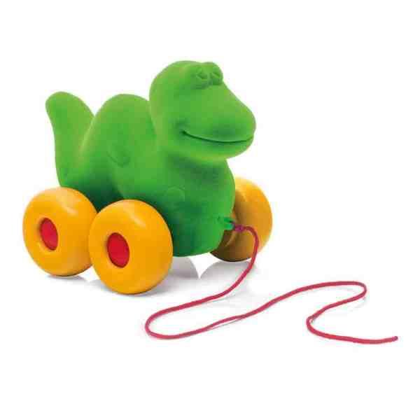 Nachziehtier Dinosaurier Grün 14 cm
