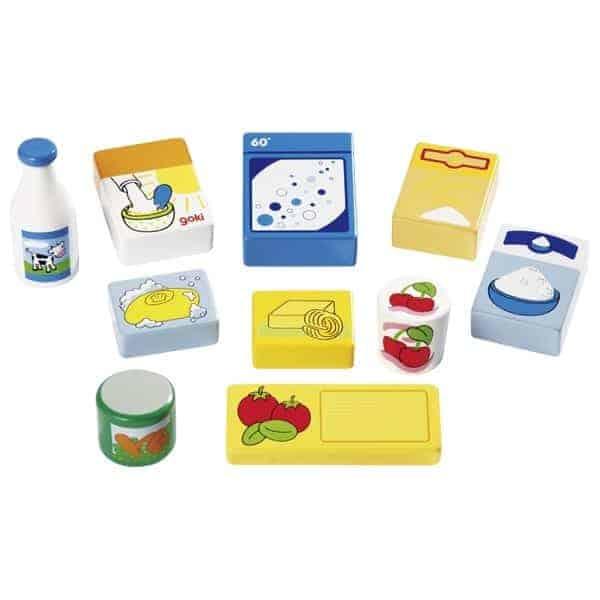 Kaufladen Miniaturen,Lebensmittel und Haushaltswaren im Korb-02