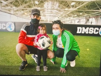 WE CAN KICK IT.  ADRIAN, THE FOUNDER & A BRAIN CANCER SURVIVOR WITH HIS CO-FOUNDER & WIFE, ROZ, AND THEIR LITTLE GIRL.