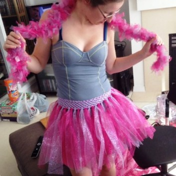 Pink-and-purple glitter tutu with matching boa (also tulle)