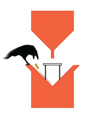The crow drops off a cigarette
