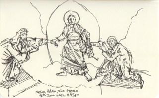 Detail Study of Fresco depicting Jesus, Adam, and Eve