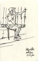 Man outside Holy Coffee