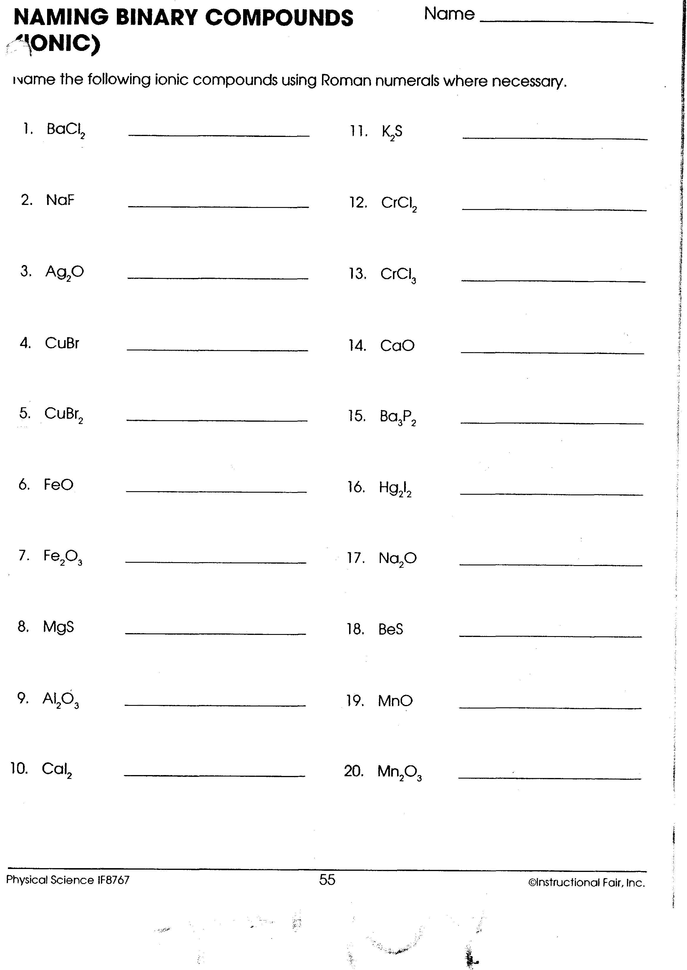 Names And Formulas Of Ionic Compounds Worksheet