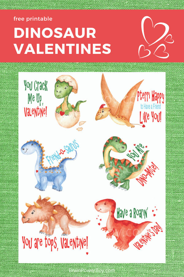 Printable Dinosaur Valentines Free To Print Brain Power Boy