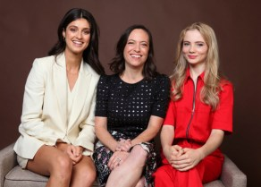 "Anya Chalotra, from left, Lauren Schmidt Hissrich and Freya Allan pose for a portrait to promote ""The Witcher"" on day two of Comic-Con International on Friday, July 19, 2019, in San Diego. (Photo by Rebecca Cabage/Invision/AP)"