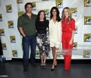 "SAN DIEGO, CALIFORNIA - JULY 19: (L-R) Henry Cavill, Jodhi May, Anya Chalotra and Freya Allan attend ""The Witcher"": A Netflix Original Series Panel during 2019 Comic-Con International at San Diego Convention Center on July 19, 2019 in San Diego, California. (Photo by Albert L. Ortega/Getty Images)"