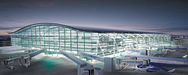 Artist's impression of the new terminal five at Heathrow Airport. The terminal opened in April 2008 with the second phase due to open in 2011. Total Cost £4.2bn ...