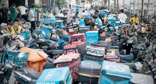 Beijing delivery drivers