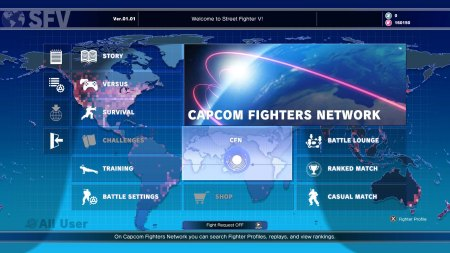 Street Fighter V menu