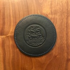 Black Horween Coaster (BV Logo)